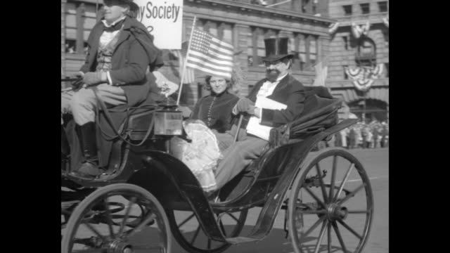 new york hails 100th birthday of union square police rifle regiment heads historic pageant recalling city's good old days / vs parade in the square... - union square new york city stock videos and b-roll footage