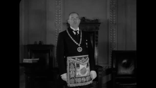 New York's Grand Master Charles H Johnson / VS Johnson in Freemason uniform speaking of loyalty to country and noble principles of Freemasonry