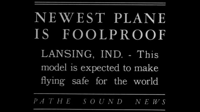 vidéos et rushes de newest plane is foolproof lansing ind this model is expected to make flying safe for the world / planes in hangar / small plane taxis and takes off /... - lansing