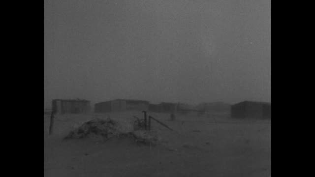 vídeos y material grabado en eventos de stock de news flashes / ws dark shot sunny day is obscured by dust storm pan farm and buildings during the storm small tumbleweed bounces across the ground in... - vendaval de polvo