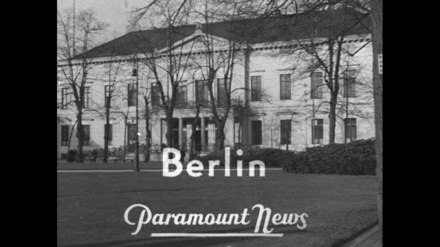 news flashes from everywhere / title berlin over unidentified building / vs italian count galeazzo ciano speaks with german ambassador joachim von... - hermann goering stock videos & royalty-free footage