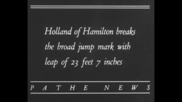 "stockvideo's en b-roll-footage met ""nixon of ottawa globe captures 120-yard high hurdles"" / hurdlers approach as they race in outdoor track meet / intertitle: ""holland of hamilton... - blazer"