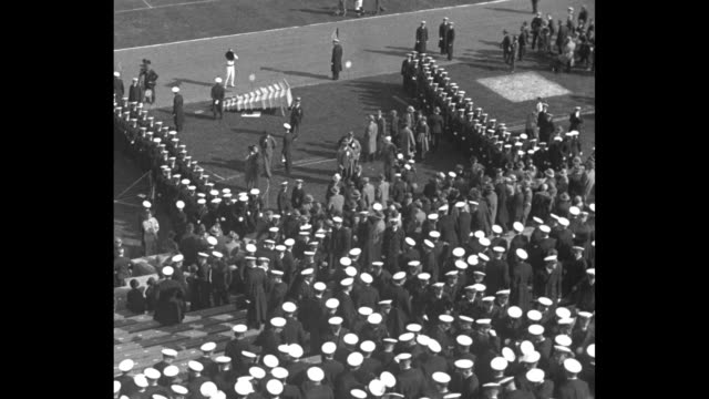 'Notre Dame Scraps Navy Baltimore Rockne's team beats Annapolis 147 after Midshipmen parade' / US Naval Academy midshipmen standing in formation on...