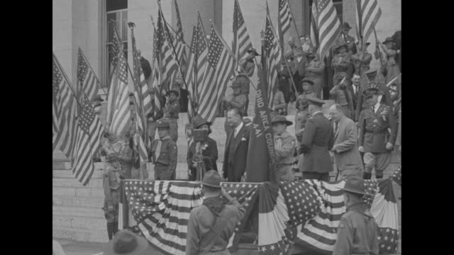 Ohio Hails Boy Scout Memorial / VO marching band plays as Boy Scouts carry flags in small parade / Scouts stand with flags on rostrum as Gov Martin...