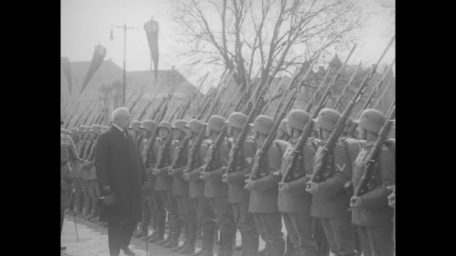 """oldenburg, germany - president von hindenburg pays official visit of state to old german city and greets many war veterans who turn out to hail the... - german military stock videos & royalty-free footage"