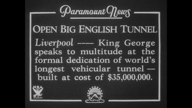 """open big english tunnel, liverpool---king george speaks to multitude at the formal dedication of world's longest vehicular tunnel--built at cost of... - mersey ferry stock videos & royalty-free footage"