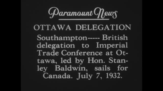 stockvideo's en b-roll-footage met ottawa delegation southampton british delegation to imperial trade conference at ottawa led by hon stanley baldwin sails for canada july 7 1932 / ms... - hampshire engeland