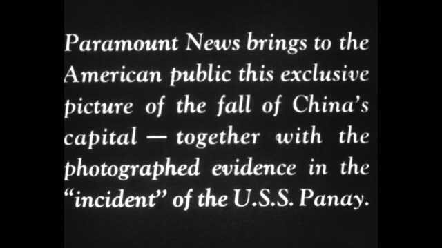 paramount news extra / title card the panay incident / title card and the capture of nanking / title card paramount news brings this exclusive... - nanjing stock-videos und b-roll-filmmaterial