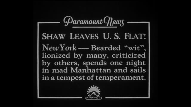 """paramount news -- """"shaw leaves u.s. flat! new york -- bearded """"wit,"""" lionized by many, criticized by others, spends one night in mad manhattan and... - ジョージ バーナード ショー点の映像素材/bロール"""