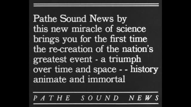 pathe sound news by this new miracle of science brings you for the first time this recreation of the nation's greatest event a triumph over time and... - herbert hoover us president stock videos & royalty-free footage