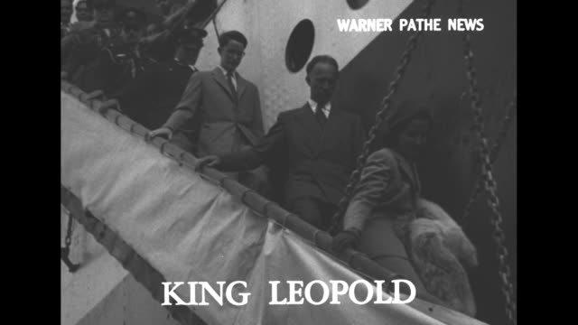 'people in the news' / king leopold superimposed over ms royal family walking down gangplank / cu lilian baels followed by her husband king leopold... - west indies stock videos & royalty-free footage