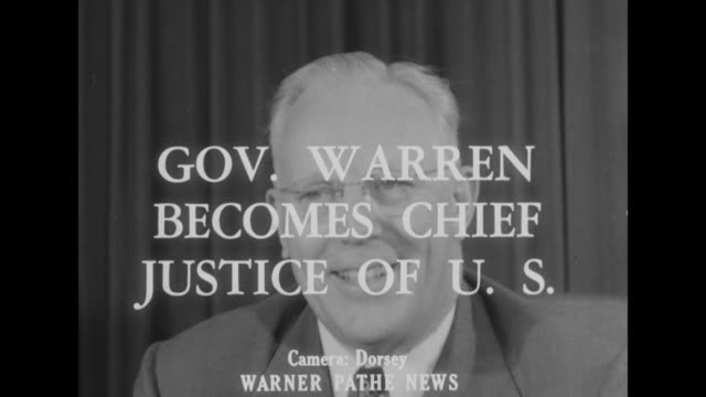 'people in the news' superimposed over line of people stretching across an arc / title card: 'gov. warren becomes chief justice of u.s.' superimposed... - u.s. supreme court stock videos & royalty-free footage