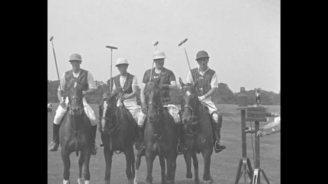 """pick us polo team port washington ny – brilliant play marks first match to select american riders for international clash with british"" / four polo... - eastern usa stock videos and b-roll footage"