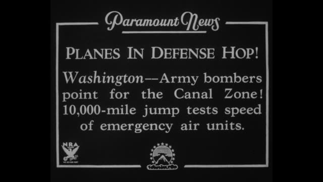 planes in defense hop washington army bombers point for the canal zone 10000mile jump tests speed of emergency air units / montage us army officer... - staffelei stock-videos und b-roll-filmmaterial