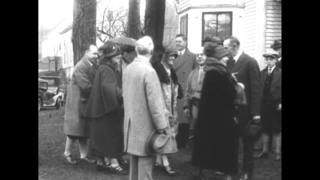 """plymouth, vermont - kiwanians visit col. coolidge! president coolidge's father welcomes guests at family farm where rock is obtained for memorial... - boulder rock stock-videos und b-roll-filmmaterial"