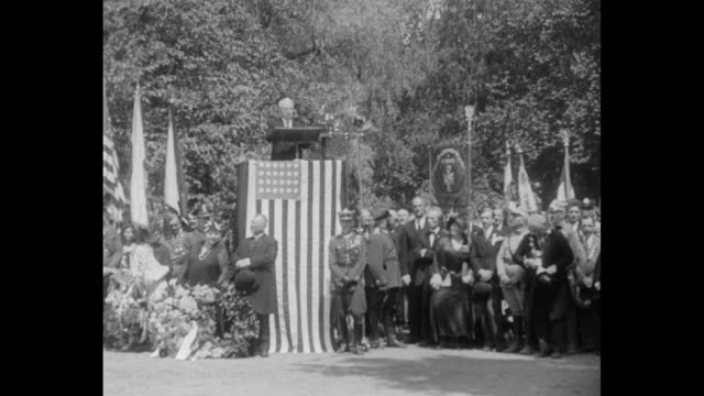 Poland honors Woodrow Wilson With widow of World War President looking on Republic unveils statue at Poznan as memorial to great American / US...