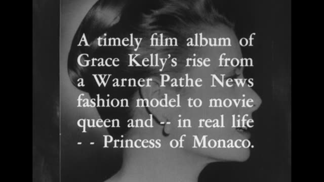 portrait of a princess superimposed over a still picture of grace kelly / title card a timely film album of grace kelly's rise from a warner pathe... - uss constitution stock videos and b-roll footage