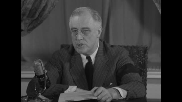 vídeos y material grabado en eventos de stock de president addresses nation / lip flap / sot us president franklin roosevelt at microphone not all of us can have the privilege of fighting our... - franklin roosevelt