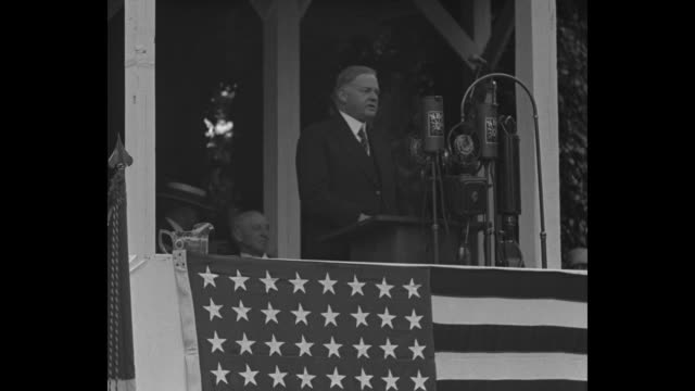 president pays tribute to lincoln's ideals at nation's shrine gettysburg / title card mr hoover on famous battlefield asks nation for calm vision... - herbert hoover us president stock videos & royalty-free footage