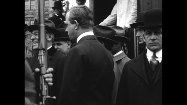 stockvideo's en b-roll-footage met president wilson visits his home town to vote in the primaries / people waiting at train station as train carrying wilson arrives / wilson greeted by... - woodrow wilson