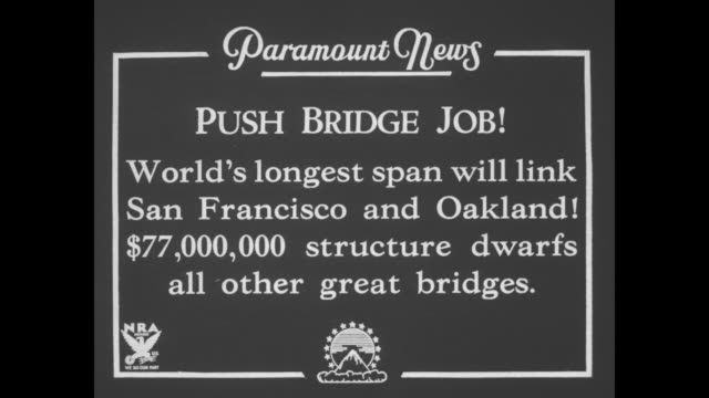 push bridge job world's longest span will link san francisco and oakland $77000 structure dwarfs all other great bridges / graphic firth of forth... - fluss firth of forth stock-videos und b-roll-filmmaterial
