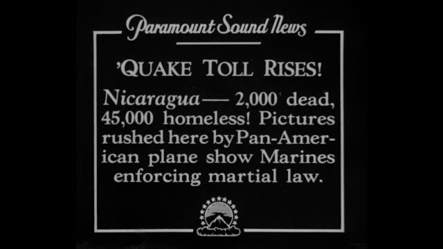 "vídeos y material grabado en eventos de stock de ""'quake toll rises! nicaragua - 2,000 dead 000 homeless! pictures rushed here by pan-american plane show marines enforcing martial law"" / pan across... - nicaragua"