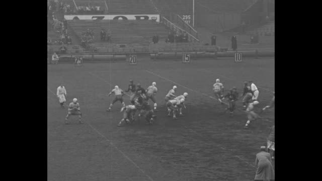rams beat nyu / wide shot kickoff at start of fordham university rams vs new york university violets football game at yankee stadium nyu kicks off /... - new york university stock videos & royalty-free footage