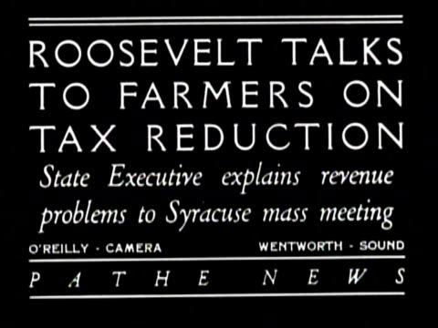 ROOSEVELT TALKS TO FARMERS ON TAX REDUCTION State Executive explains revenues problems to Syracuse mass meeting / The president stands outside in...
