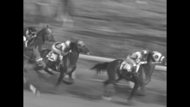 """record race ends season at agua caliente"" / crowd at agua caliente racetrack / rear shot horses parade to post / men in crowd / good horses burst... - agua点の映像素材/bロール"