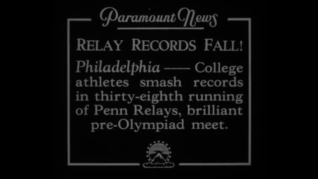 Relay Records Fall Philadelphia College athletes smash records in thirtyeighth running of Penn Relays brilliant preOlympiad meet / high hurdles track...