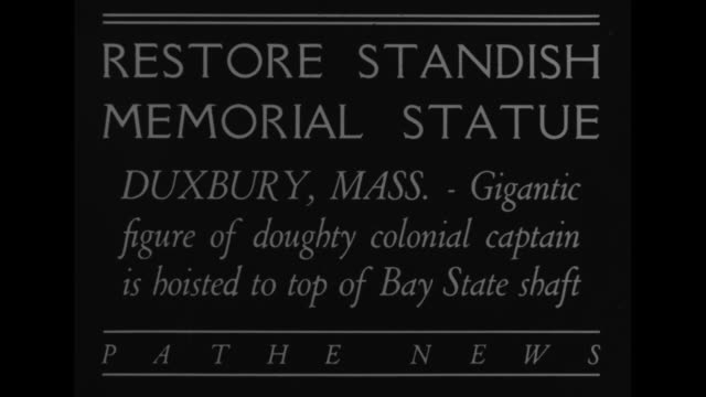 restore standish memorial statueduxbury massgigantic figure of doughty colonial captain is hoisted to top of bay state shaft / cu standish torso with... - granite stock videos & royalty-free footage