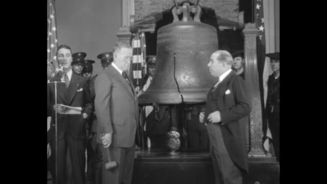 ring liberty bell to open washington bicentennial tribute mayor mackey inaugurates 200th anniversary at america's shrine / vs as a person at left... - liberty bell stock videos & royalty-free footage