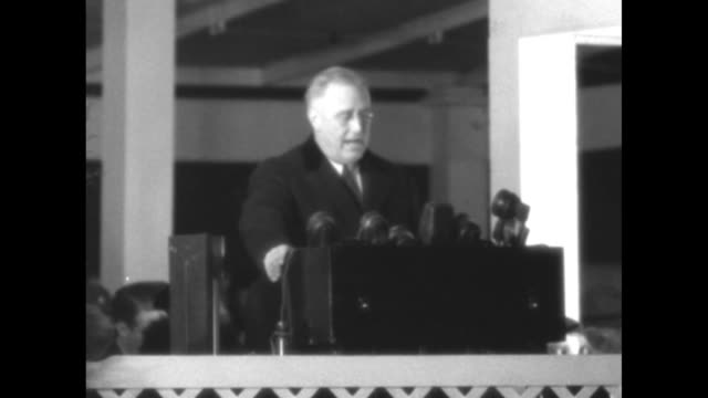 roosevelt asks peace for 1937 superimposed over cu pres franklin roosevelt smiling / vs war scenes german soldiers on field shooting artillery... - french flag stock videos & royalty-free footage