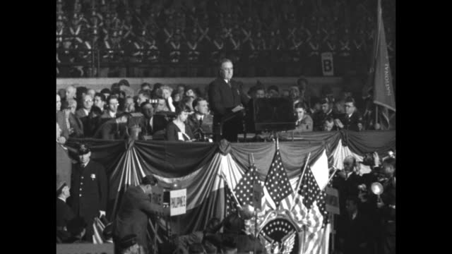 roosevelt asks unity for recovery american legion convention hails historic speech at chicago / lspan right delegates gathered inside chicago stadium... - new deal stock videos & royalty-free footage