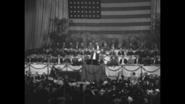 roosevelt says faith will win president lauds nation's spirit at catholic convention in new york / ws pres franklin roosevelt in white tie stepping... - great depression stock videos & royalty-free footage