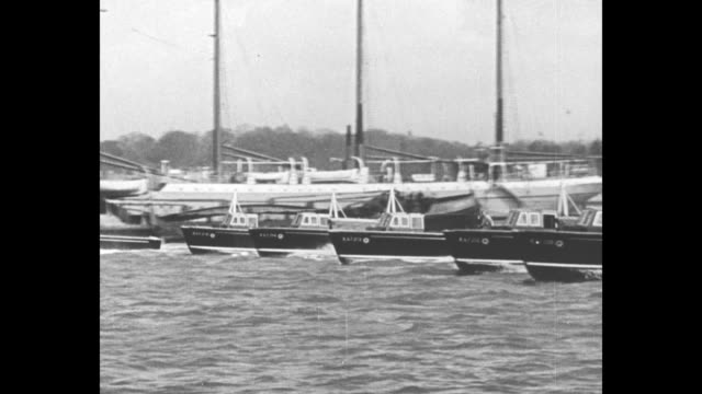 """""""royal air force gets seagoing - british air ministry's new seaplane tenders which can make 28 knots maneuver at southampton, england"""" / several... - shiny stock videos & royalty-free footage"""