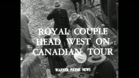 """""""royal couple head west on canadian tour"""" superimposed over princess elizabeth and prince philip stepping out of stagecoach / couple shown crafted... - headdress stock videos & royalty-free footage"""