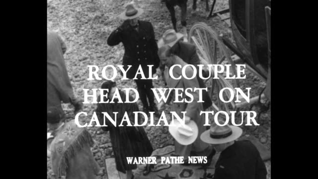 royal couple head west on canadian tour superimposed over princess elizabeth and prince philip stepping out of stagecoach / couple shown crafted... - headdress stock videos & royalty-free footage