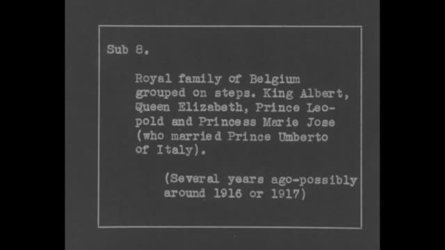 òroyal family of belgium grouped on steps king albert queen elizabeth prince leopold and princess marie jose / the four stand on steps with... - the family man film title stock videos & royalty-free footage