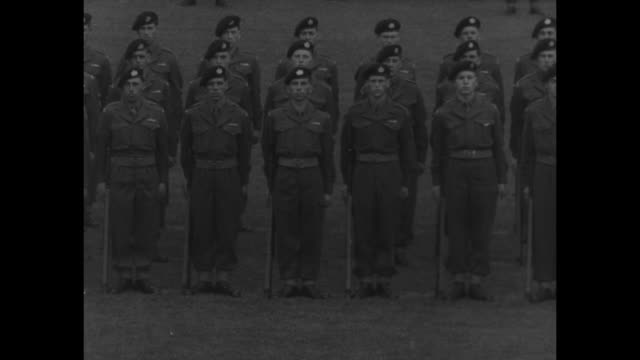 "vídeos de stock, filmes e b-roll de title card: ""royal occasions"" superimposed over military review of gloucestershire regiment of the british army / prince henry, duke of gloucester,... - new age"