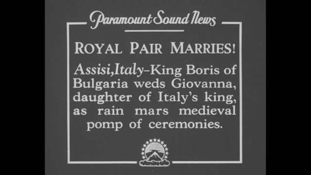 royal pair marries assisi italy king boris of bulgaria weds giovanna daughter of italy's king as rain mars medieval pomp of ceremonies / long... - franziskus kirche stock-videos und b-roll-filmmaterial