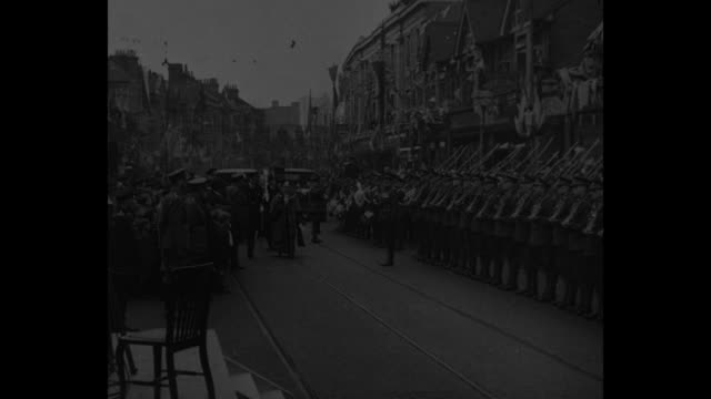 royalty at barking barking h r h prince george brings charter to 1300yearold town creating new borough oct 8 1931 / british soldiers present arms at... - british military stock videos and b-roll footage