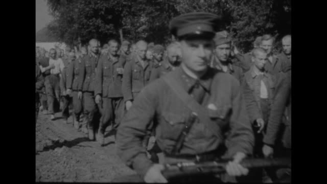 russia nazi prisoners and materiel captured / vs german pows walk along dirt road in countryside escorted by red army guards / mounted soldiers ride... - prisoner of war stock videos & royalty-free footage