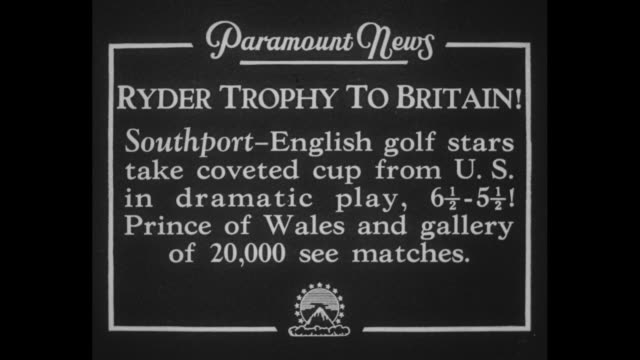 ryder trophy to britain southport english golf stars take coveted cup from us in dramatic play 6 1/25 1/2 prince of wales and gallery of 20000 see... - pga event stock videos and b-roll footage