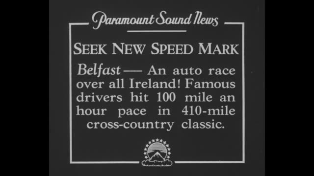 """""""seek new speed mark - belfast - an auto race over all ireland! famous drivers hit 100 mile an hour pace in 410-mile cross-country classic"""" / race... - 追放点の映像素材/bロール"""
