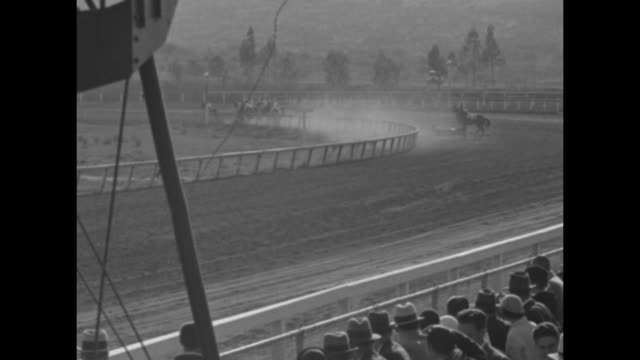 """""""sensational triple spill in horse race!"""" / race horses come out of gate to start race at agua caliente racecourse / going into first turn of ninth... - agua点の映像素材/bロール"""
