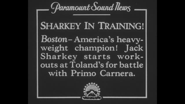 sharkey in training boston – america's heavyweight champion jack sharkey starts workouts at toland's for battle with primo carnera / heavyweight... - primo carnera stock videos and b-roll footage