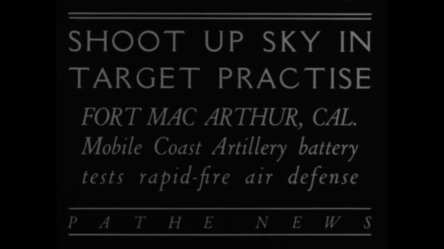 """shoot up sky in target practice, fort macarthur, cal. - mobile coast artillery battery tests rapid-fire air defense"" / two small airplanes far away... - artillery stock videos & royalty-free footage"