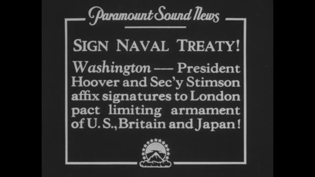 sign naval treaty washington president hoover and sec'y stimson affix signatures to london pact limiting armament of us britain and japan / hoover... - washington state stock videos and b-roll footage