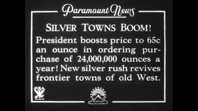 silver towns boom president boosts price to 65c an ounce in ordering purchase of 24000 ounces a year new silver rush revives frontier towns of old... - chisel stock videos and b-roll footage